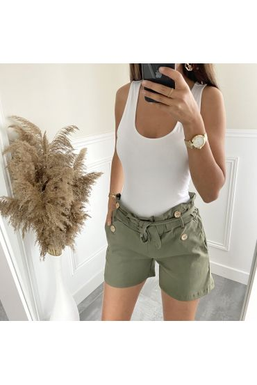 SHORTS BUTTONS 2825 MILITARY GREEN