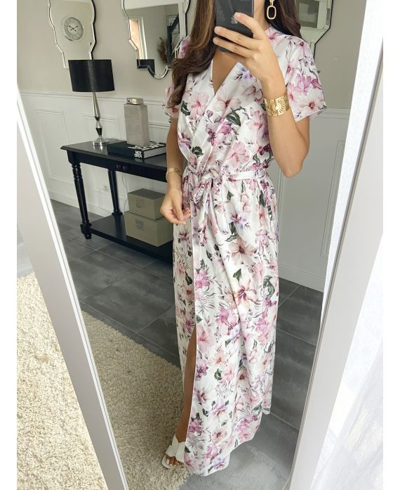 LONG DRESS FLORAL 7938I1 WHITE