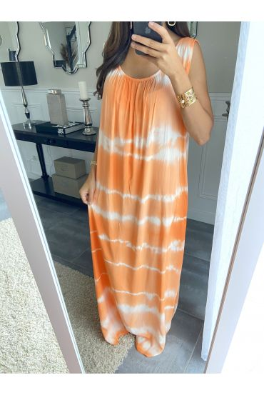 ROBE LONGUE TIE AND DYE 2841 ORANGE
