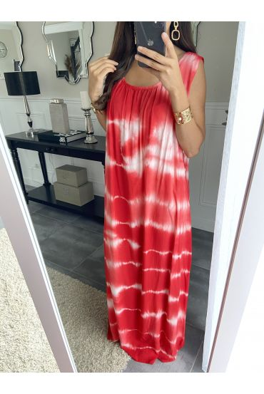 ROBE LONGUE TIE AND DYE 2841 ROUGE