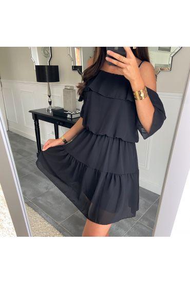 DRESS CLOAKING SHOULDERS DENUDEES 8526 BLACK