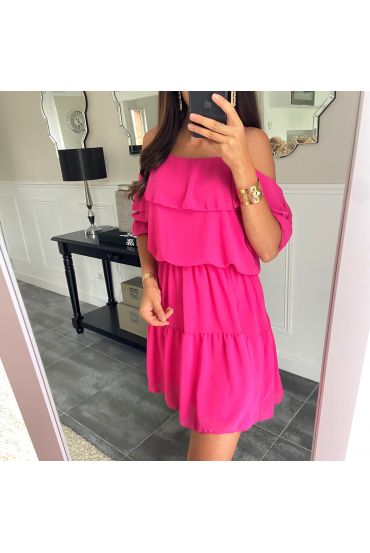 DRESS CLOAKING SHOULDERS DENUDEES 8526 FUSHIA