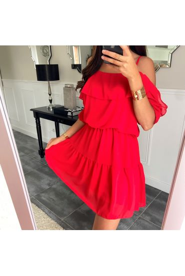DRESS CLOAKING SHOULDERS DENUDEES 8526 RED