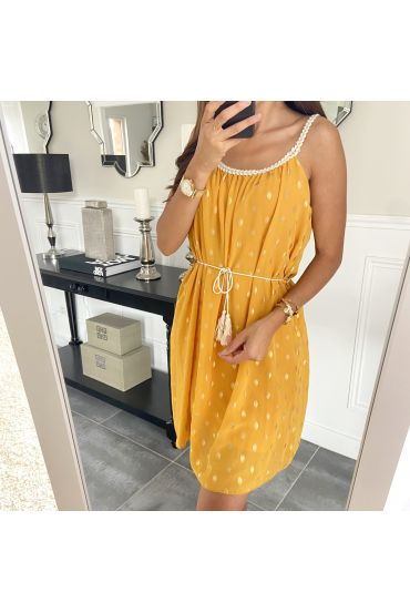 DRESS HAS FEATHERS DOREES 9537 MUSTARD