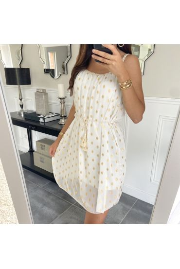 DRESS HAS FEATHERS DOREES 9537 WHITE