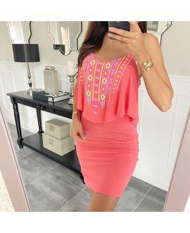 SHORT DRESS AZTEQUE 5853 CORAL