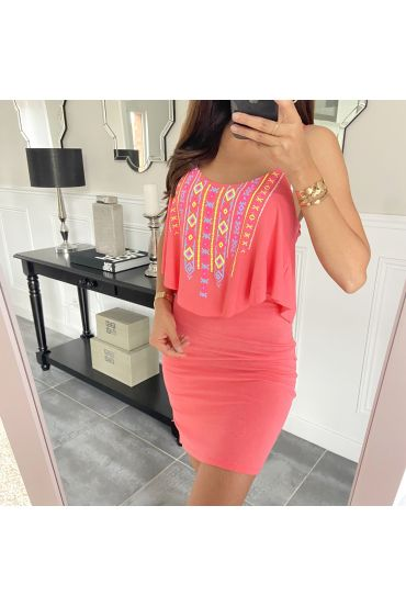 SHORT DRESS AZTEQUE 5853 CORAL