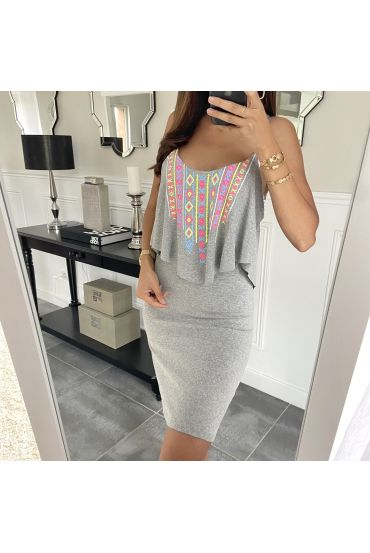 SHORT DRESS AZTEQUE 5853 GREY