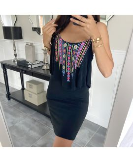 SHORT DRESS AZTEQUE 5853 BLACK