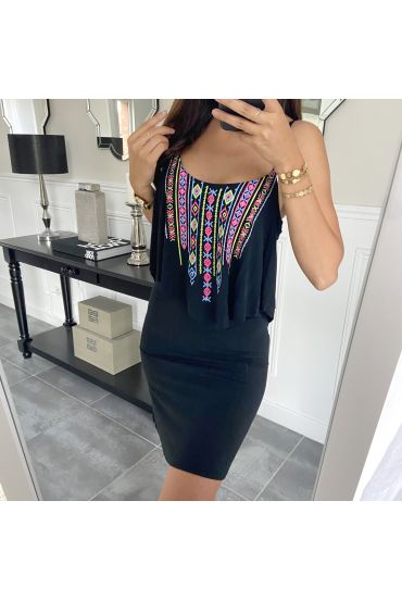 SHORT DRESS AZTEQUE 5853 BLACK