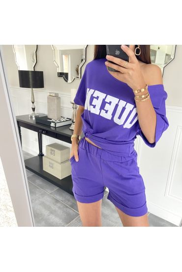 SET SHORTS T-SHIRT 9521 VIOLETT