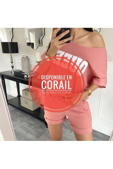 CONJUNTO DE PANTALONES CORTOS DE T-SHIRT 9521 CORAL