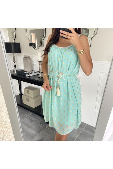 DRESS HAS FEATHERS DOREES 9537 PASTEL GREEN