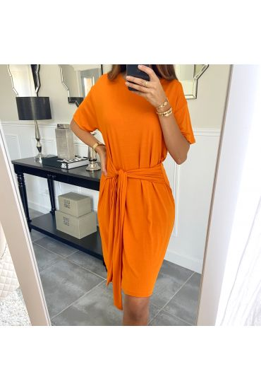 DRESS HAS TIE 3945 ORANGE