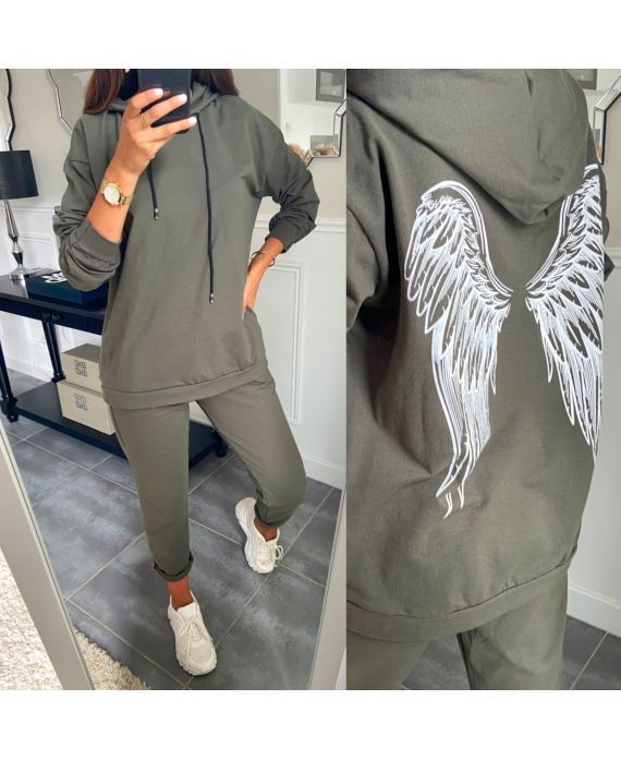 SET PANTS + SWEATER WINGS OF ANGEL 8976 MILITARY GREEN