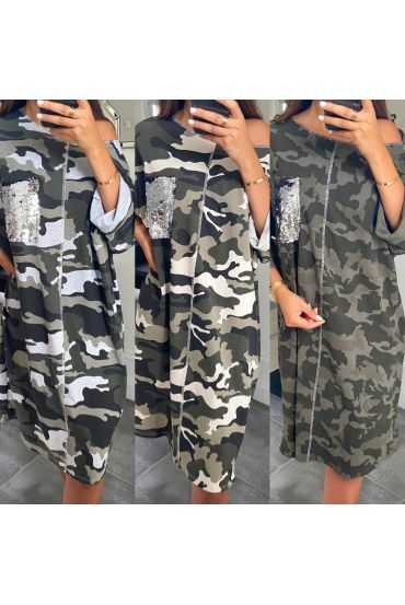 PACK 4 DRESS OVERSIZE SEQUINS MILITARY 7715
