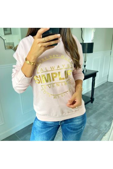 SWEAT/PULL ECRITURE 8400 ROSE