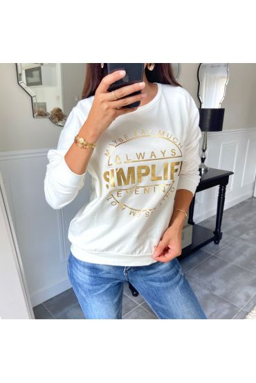 SWEAT/PULL ECRITURE 8400 BLANC