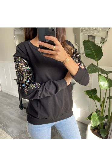PULL/SWEAT STRASS MANCHES 8967 NOIR
