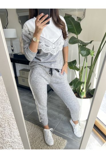 ENSEMBLE PULL DENTELLE + PANTALON 9207 GRIS
