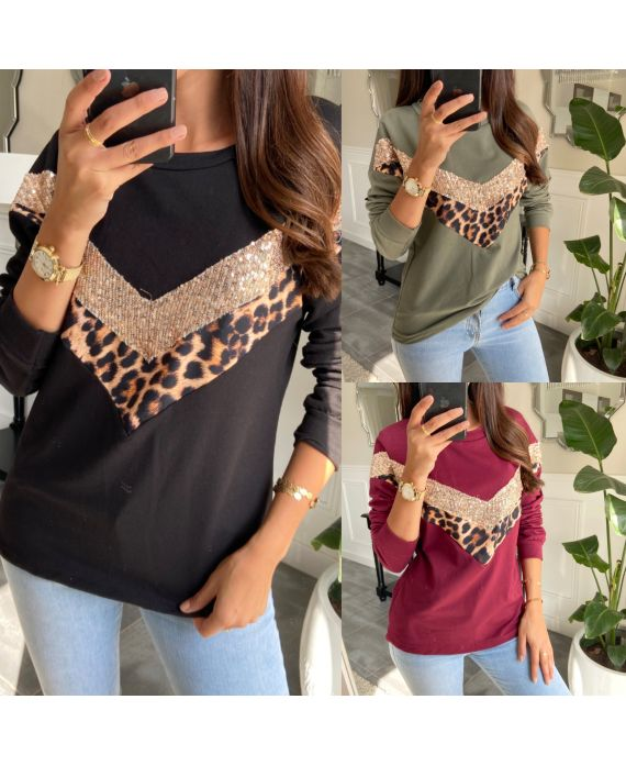 PACK 4 SWEATERS HOODED LEOPARD SEQUINS 9725