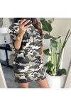 PACK OF 2 LONG SWEATERS MILITARY HOOD 8973