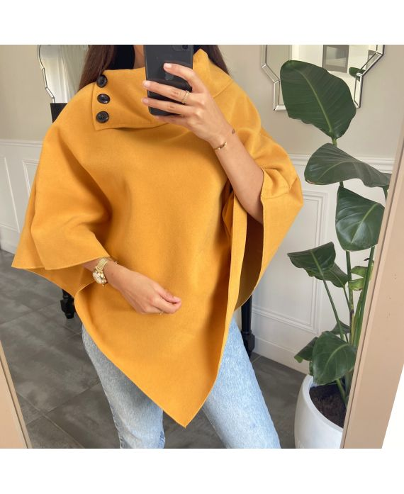PONCHO SOFT WITH COLLAR HAS BUTTONS 1717 MUSTARD