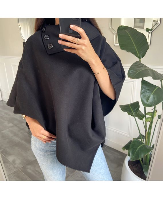 PONCHO SOFT WITH COLLAR HAS BUTTONS 1717 BLACK