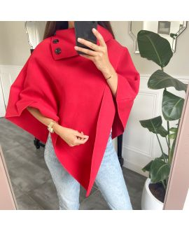 PONCHO SOFT WITH COLLAR HAS BUTTONS 1717 RED