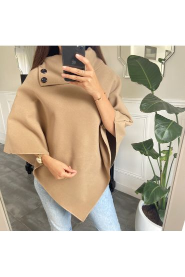 PONCHO SOFT WITH COLLAR HAS BUTTONS 1717 CAMEL