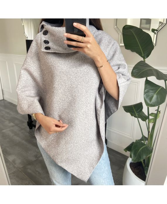 PONCHO SOFT WITH COLLAR HAS BUTTONS 1717 GREY