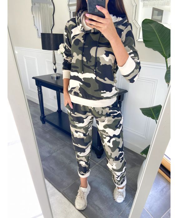 SET PANTS + SWEATER WITH HOOD MILITARY EFFECT 8152
