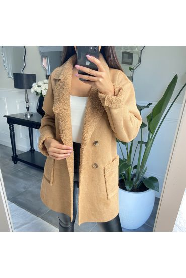 COAT SUEDE AND MOUMOUTE 9256 BEIGE