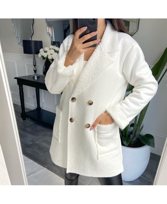 COAT SUEDE AND MOUMOUTE 9256 WHITE