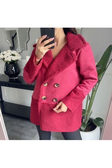 COAT WITH EMPIECEMENTS MOUMOUTE 9766 RED