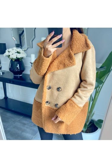 COAT WITH EMPIECEMENTS MOUMOUTE 9766 BROWN