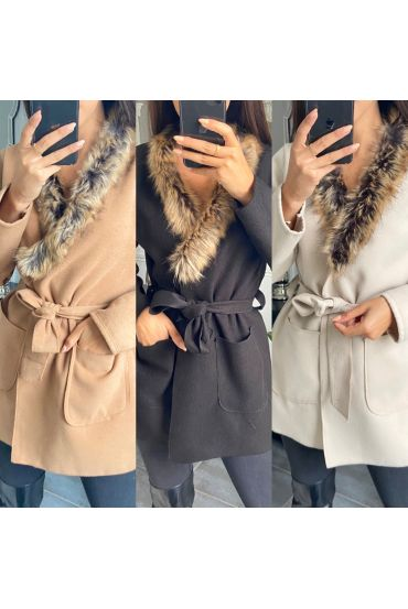 PACK 3 LONG COAT FUR COLLAR 6272