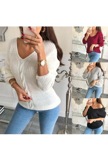 PACK PULLOVER V-NECK CABLE-KNIT 9815