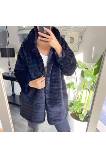 COAT FAUX FUR HOOD 9132 BLACK