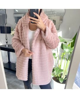 COAT FAUX FUR HOOD 9132 PINK