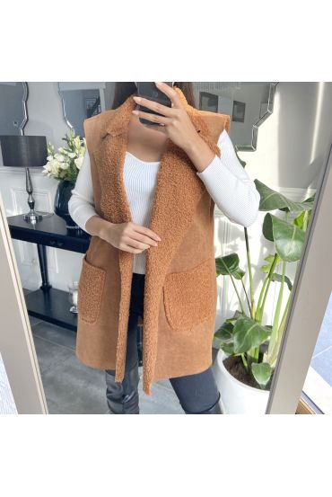 COAT WITHOUT SLEEVES MOUMOUTE 9819 CAMEL