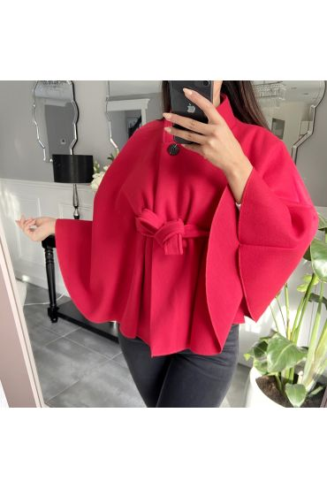 CAPE WITH BELT-9838 RED