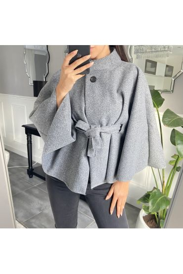 CAPE WITH BELT 9838 GREY