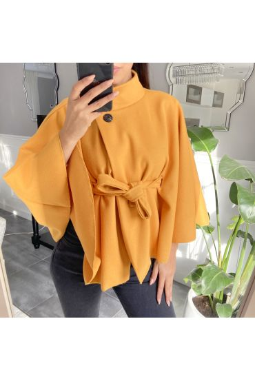 CAPE WITH BELT 9838 MUSTARD