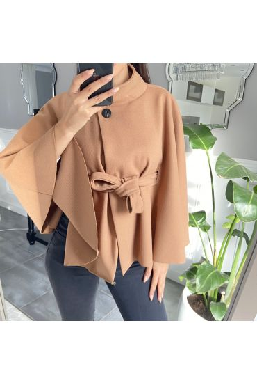 CAPE WITH BELT 9838 CAMEL