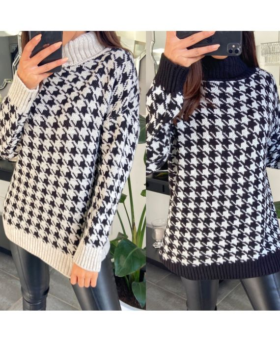PACK 2 SWEATERS COL ROULE PATTERN HOUNDSTOOTH 2143