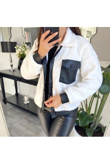 JACKET FAUX LEATHER 9804 WHITE