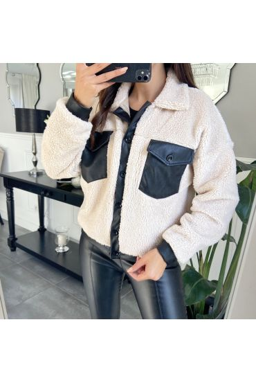 JACKET FAUX LEATHER 9804 BEIGE