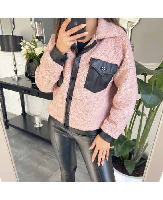 JACKET FAUX LEATHER 9804 PINK