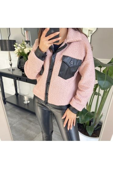 VESTE SIMILI CUIR 9804 ROSE